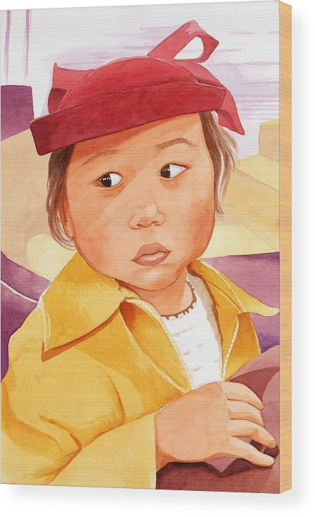 Little Japanese Girl In Red Hat Wood Print featuring the painting Little Girl in Red Hat by Judy Swerlick
