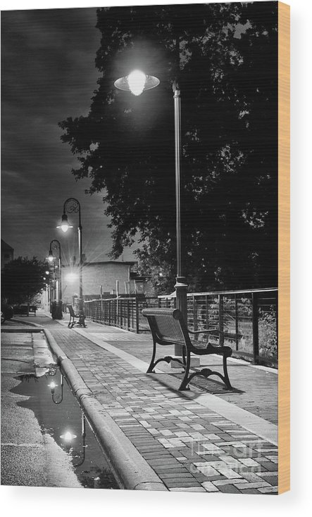 Black And White Wood Print featuring the photograph Lonely Evening At Vulcan Park by Ever-Curious Photography