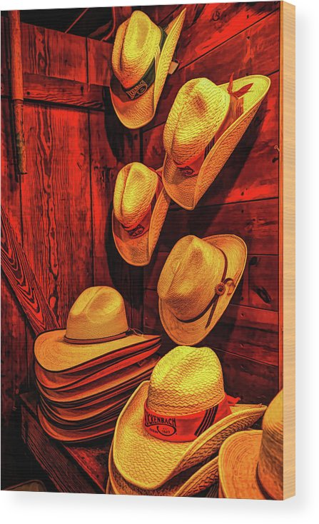 Cowboy Hat Wood Print featuring the photograph Luckenbach Hats Hdr by Judy Vincent