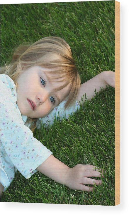 Girl Wood Print featuring the photograph Lying in the Grass by Margie Wildblood