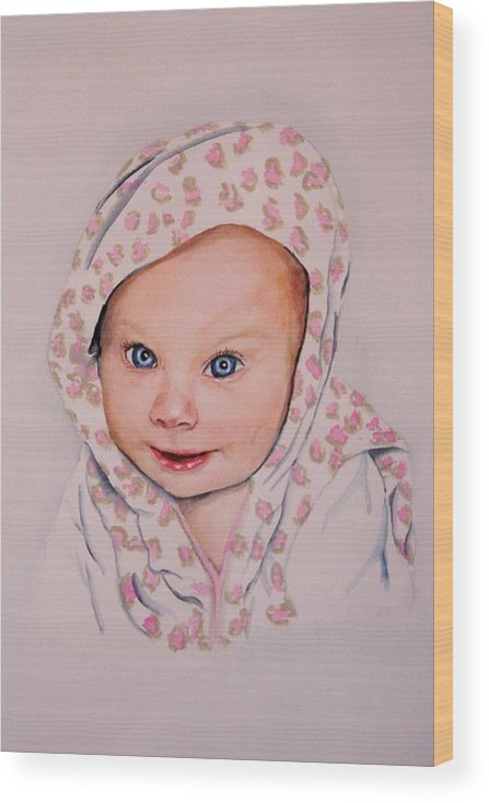 Portrait Wood Print featuring the painting Madi by Diane Ziemski