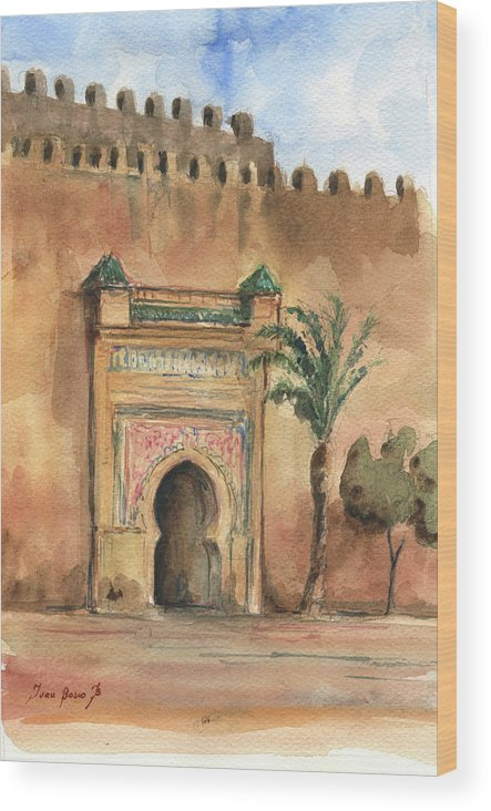 Morocco Art Wood Print featuring the painting Medina Morocco, by Juan Bosco