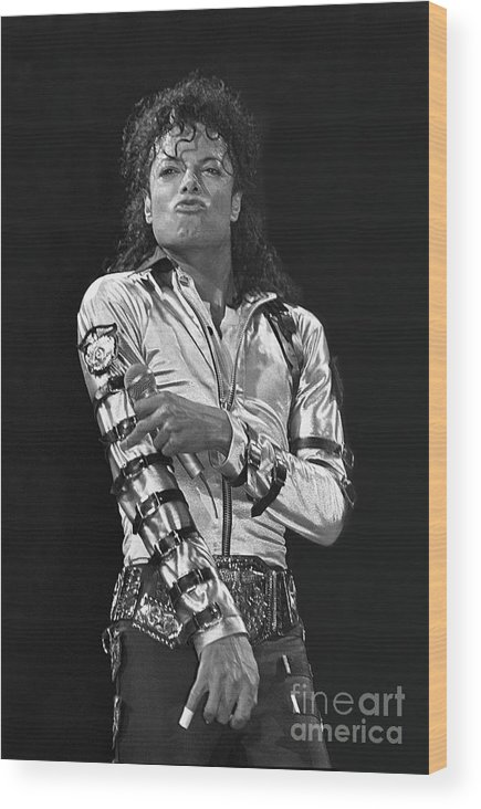 Music Legend Michael Jackson Is Shown Performing On Stage During A Live Concert Appearance Wood Print featuring the photograph Michael Jackson - The King of Pop by Concert Photos