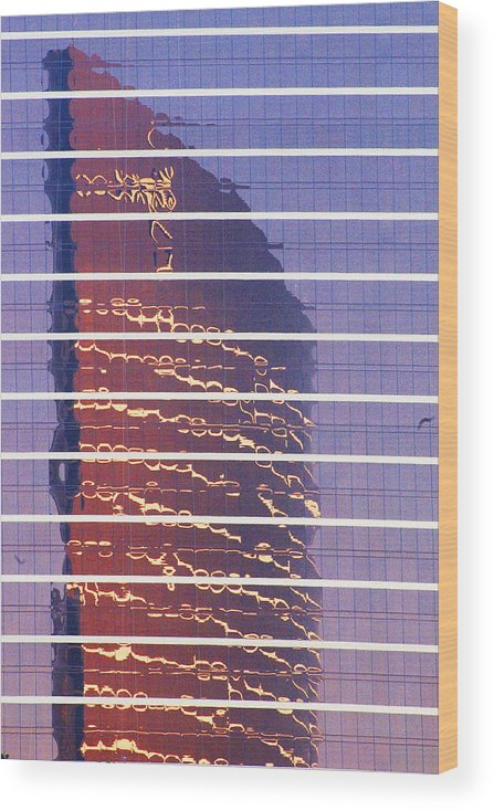 Cityscape Wood Print featuring the photograph Modern Reflections in Sin City by Richard Henne