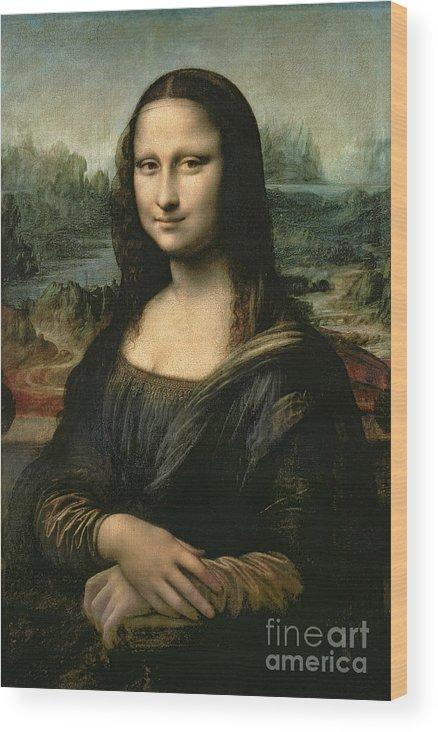 Mona Wood Print featuring the painting Mona Lisa by Leonardo da Vinci