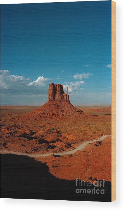 Landscape National Park Blue Sky Red Rock Cloud Wood Print featuring the photograph Monument Park by Ty Lee