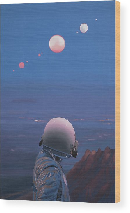 Astronaut Wood Print featuring the painting Moons by Scott Listfield