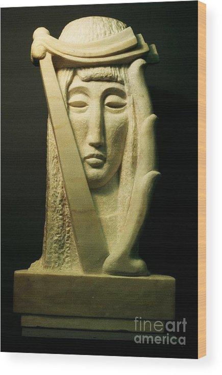 Sculpture Wood Print featuring the sculpture Muse by Ushangi Kumelashvili