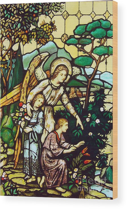 Wood Print featuring the painting My angel by Jose Manuel Abraham