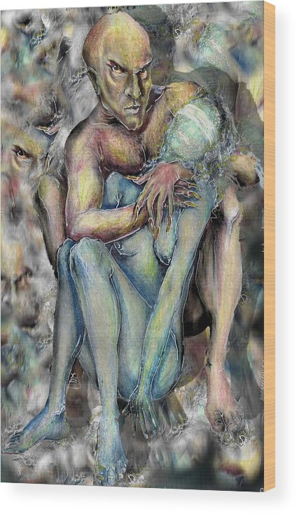 Demons Love Passion Control Posession Woman Lust Wood Print featuring the mixed media My Precious by Veronica Jackson