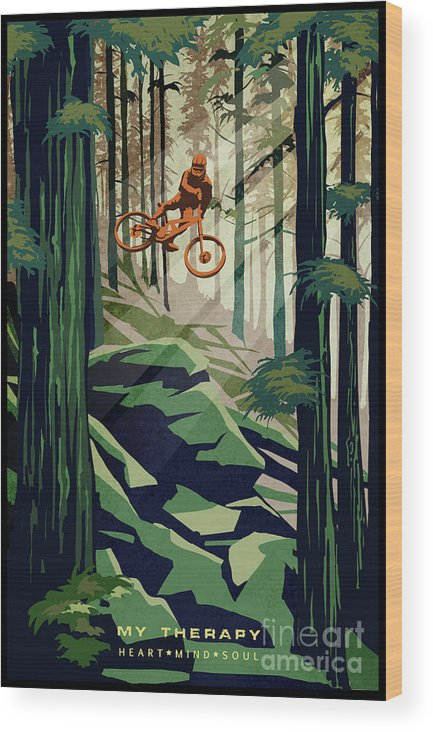 Mountain Bike Wood Print featuring the painting My Therapy by Sassan Filsoof