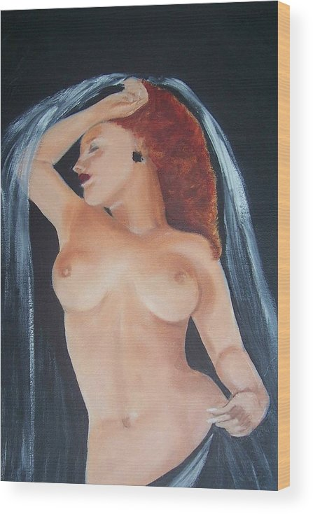 Nude Wood Print featuring the painting Nude Bride by Martha Mullins