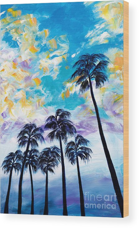 Oceanside Palm Trees Wood Print By Art By Danielle