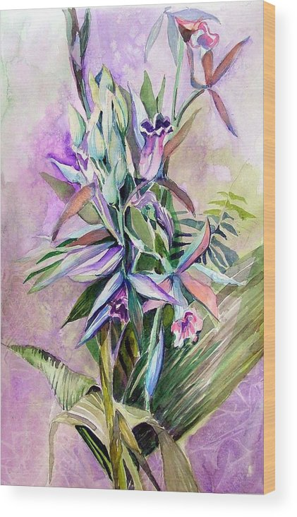 Orchids Wood Print featuring the painting Orchids- Botanicals by Mindy Newman