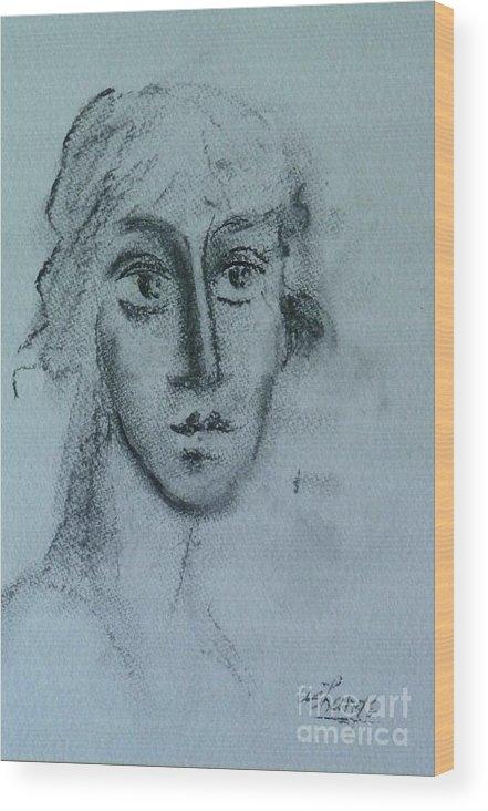 Woman Wood Print featuring the drawing Perceptive by Ushangi Kumelashvili