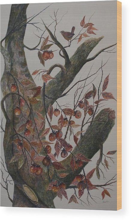 Persimmons; Tree; Landscape' Carolina Wren; Bird Wood Print featuring the painting Persimmon Tree by Ben Kiger