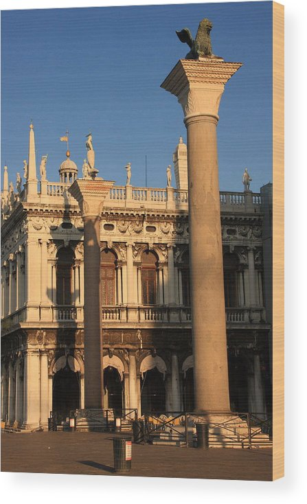 Venice Wood Print featuring the photograph Pillars at Piazzetta San Marco in Venice by Michael Henderson