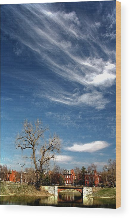 St. Louis Wood Print featuring the photograph Pillow Clouds by Mark Braun