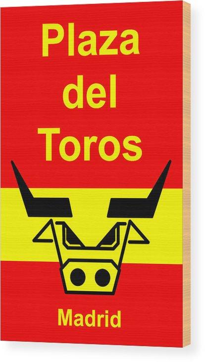 Wood Print featuring the digital art Plaza Del Toros by Asbjorn Lonvig