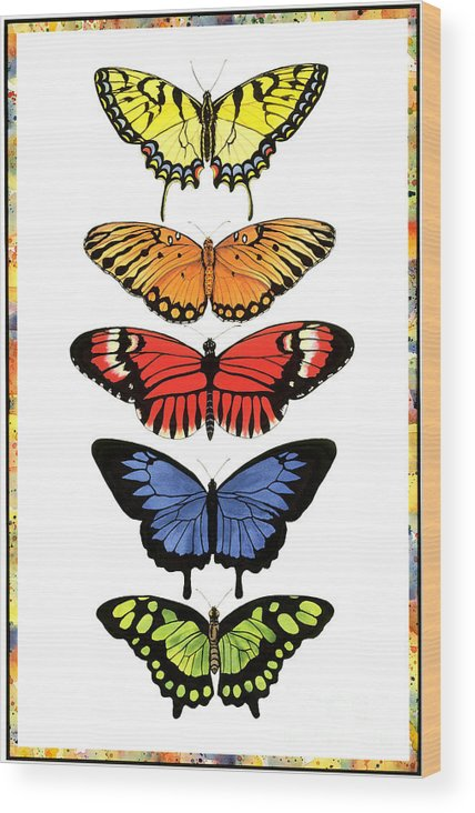 Butterflies Wood Print featuring the painting Rainbow Butterflies by Lucy Arnold