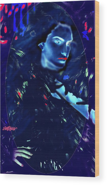 A Bizarre Evil Witch Flies With The Ravens Wood Print featuring the digital art Raven Woman by Seth Weaver