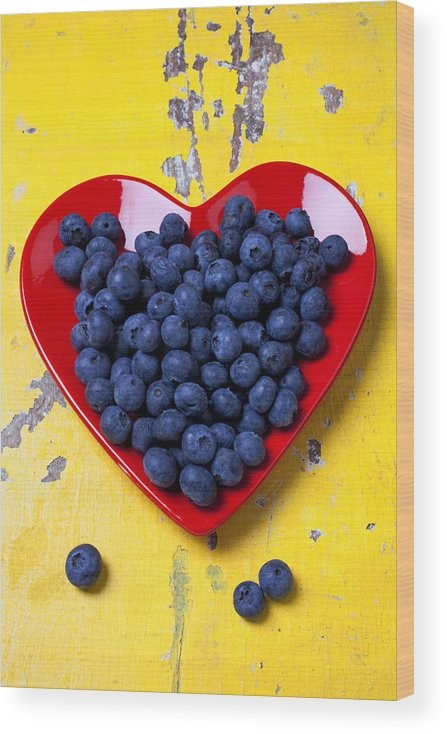 Red Heart Shaped Plate Wood Print featuring the photograph Red heart plate with blueberries by Garry Gay