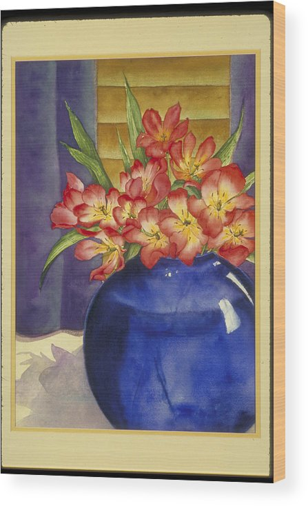 Blue Glass Wood Print featuring the painting Red Tulips for a Blue Lady by Nancy Ethiel