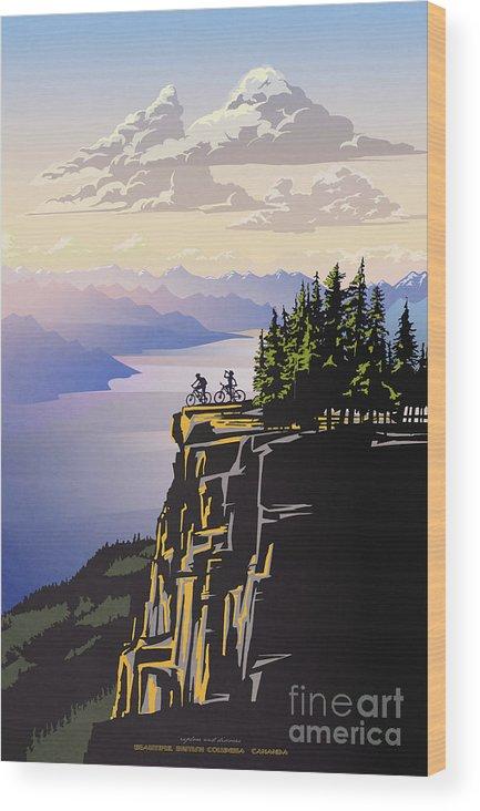 Cycling Wood Print featuring the digital art Retro Beautiful BC Travel poster by Sassan Filsoof