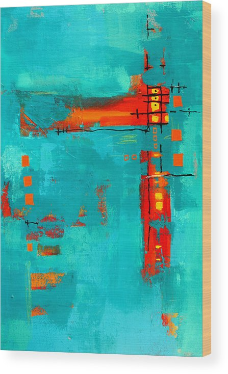 Turquoise Abstract Wood Print featuring the painting Rusty by Nancy Merkle