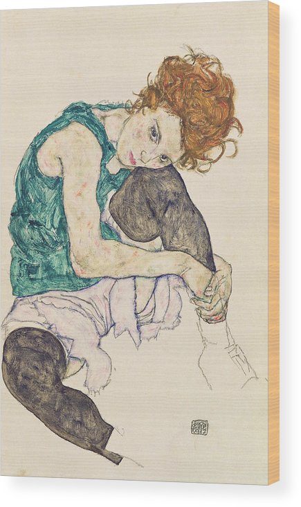 Egon Schiele Wood Print featuring the painting Seated Woman with Bent Knee by Egon Schiele