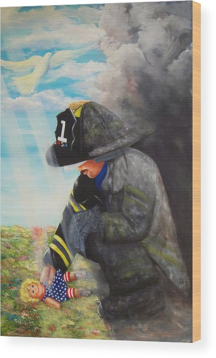 Portrait Wood Print featuring the painting September 11th by Joni McPherson