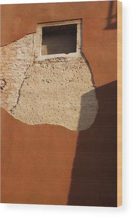 Venice Wood Print featuring the photograph Shadow with Square Window in Venice by Michael Henderson