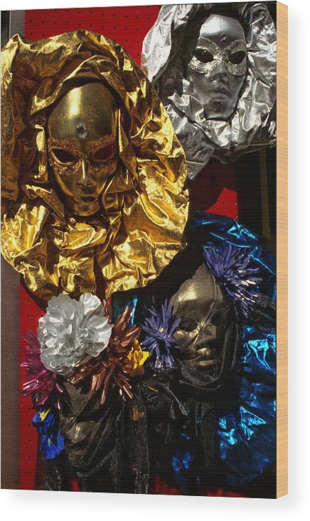 Venice Wood Print featuring the photograph Shiny Masks in Venice by Michael Henderson