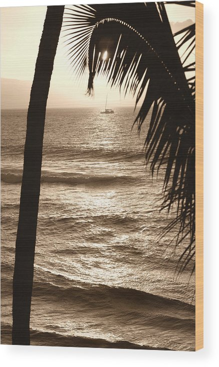 Hawaii Wood Print featuring the photograph Ship in Sunset by Marilyn Hunt