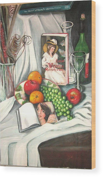 Still Life Wood Print featuring the painting Simple Pleasures by Eileen Kasprick