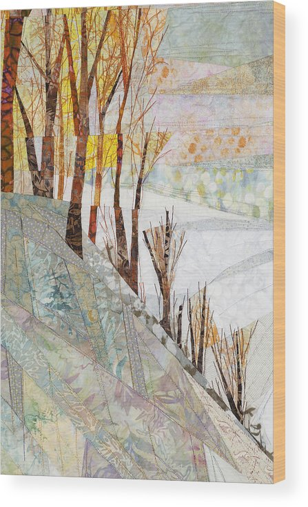 Tree Wood Print featuring the tapestry - textile Snowy Dawn by Linda Beach