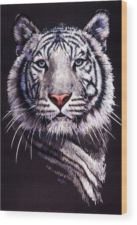 Tiger Wood Print featuring the drawing Sorcerer by Barbara Keith