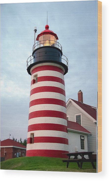 Maine Lighthouses Wood Print featuring the photograph Sunset Lighthouse by Brenda Giasson