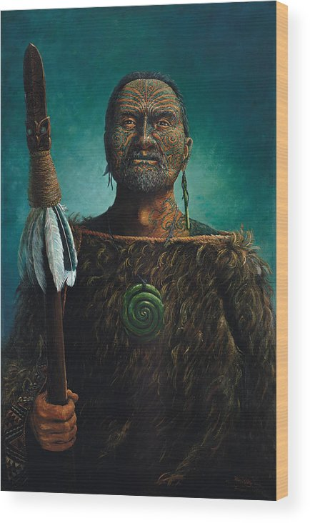 Maori Wood Print featuring the painting Tamaki by Peter Jean Caley