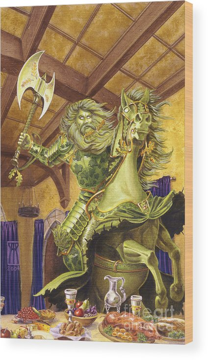 Fine Art Wood Print featuring the painting The Green Knight by Melissa A Benson