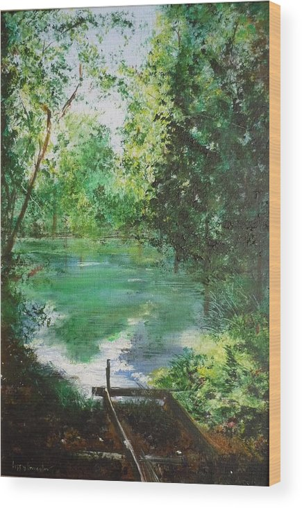 Lake Wood Print featuring the painting The Lake At Stansted Unfinished by Lizzy Forrester