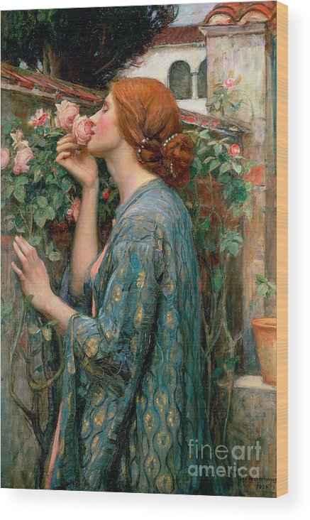 The Wood Print featuring the painting The Soul of the Rose by John William Waterhouse
