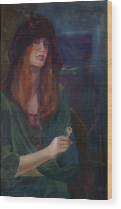 Woman Wood Print featuring the painting The Spare Key by Irena Jablonski