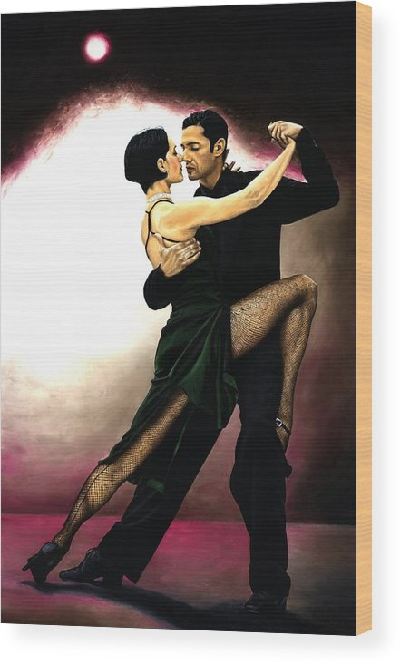 Tango Wood Print featuring the painting The Temptation of Tango by Richard Young