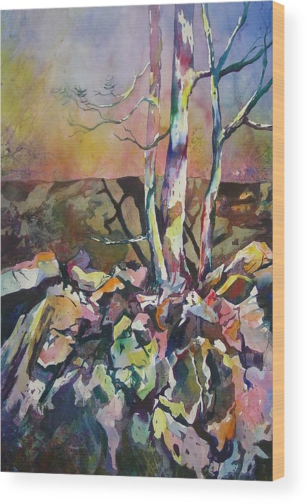 Watercolor Wood Print featuring the painting Three Trees by Marlene Gremillion