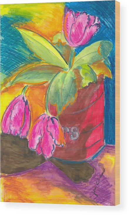 Flowers Wood Print featuring the painting Tulips In Can by Jean Blackmer