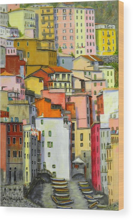 Village Wood Print featuring the painting Tuscany Village by Dan Bozich