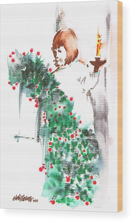 Vanessa Iii Wood Print featuring the painting Vanessa III by Seth Weaver