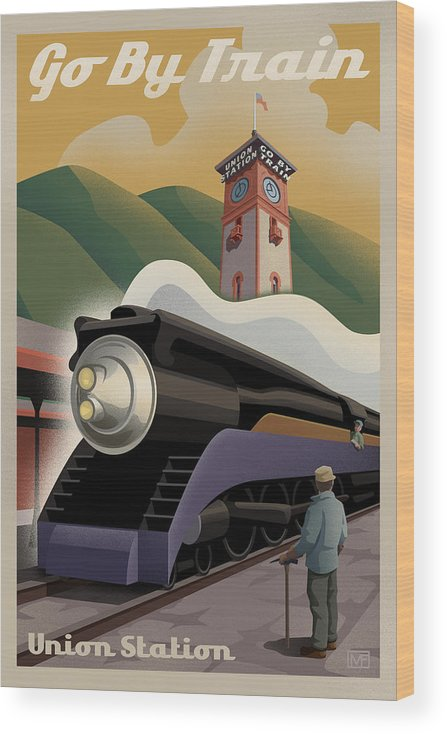 Union Station Wood Print featuring the digital art Vintage Union Station Train Poster by Mitch Frey