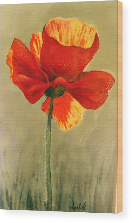 Flower Wood Print featuring the painting Wildflower 2 by Ixchel Amor